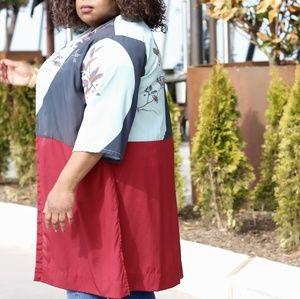 Citron Jackets & Coats - Citron Red and Blue Floral Kimono Jacket (3X)